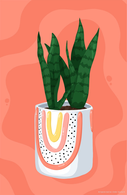 Snake Plant by Mollyspink.creative Poster Invasion Print.