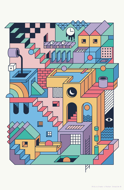 80s Esher by Rick A Crane Poster Invasion Print.