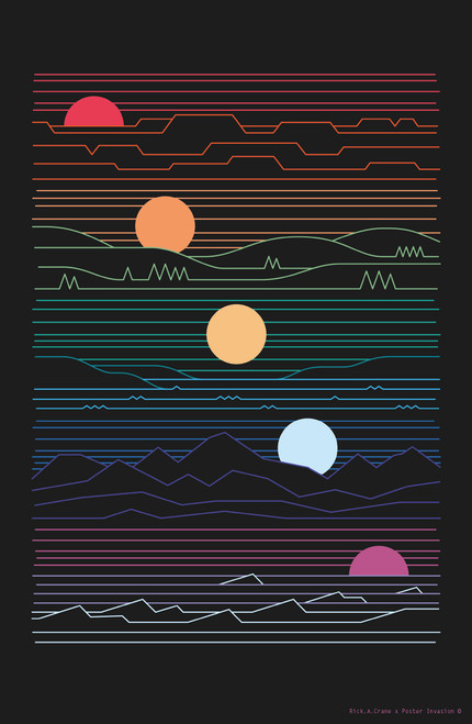 Many Suns by Rick A Crane Poster Invasion Print.