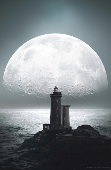Trigonal_Art Lighthouse Moon Poster Invasion Print.