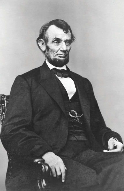 Abraham Lincoln portrait in black and white.