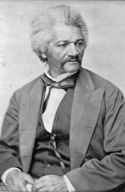 Portrait of Frederick Douglass in black and white.