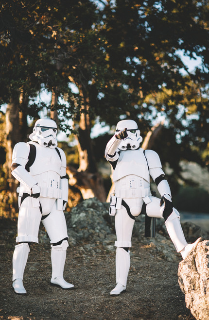 Two storm troopers looking at camera in the woods.