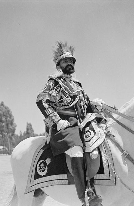 Portrait of Emperor Haile Selassie on horseback in 1934.