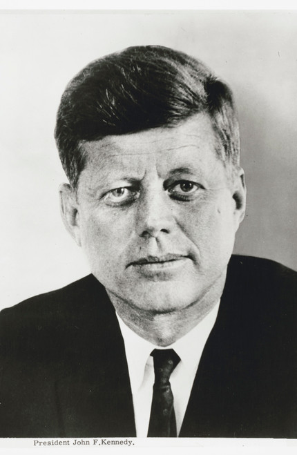 Portrait of JFK in black and white.