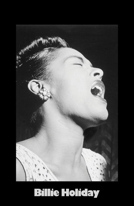 Billie Holiday singing in black and white.