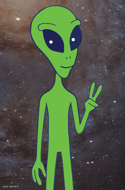 Poster Invasion Alien Mascot with a peace sign on a starry background.