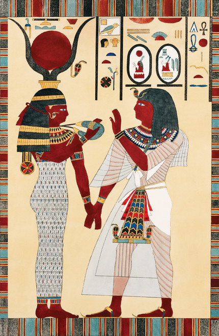 Goddess Isis holding hands.