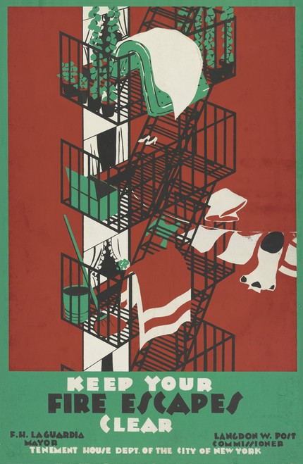 PSA with item laden fire escapes on red background.