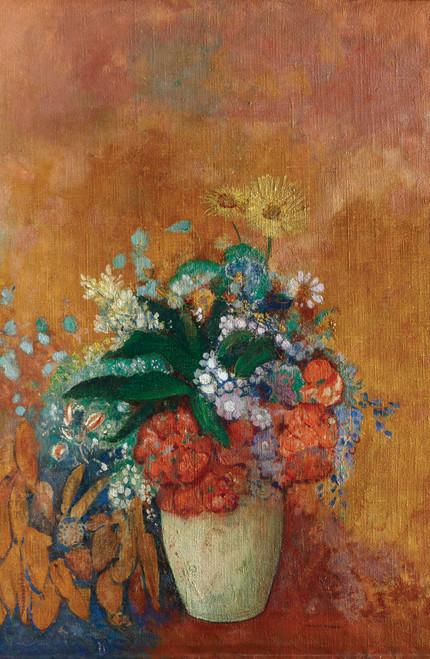 Odilon Redon's Vase of Flowers on orange background.