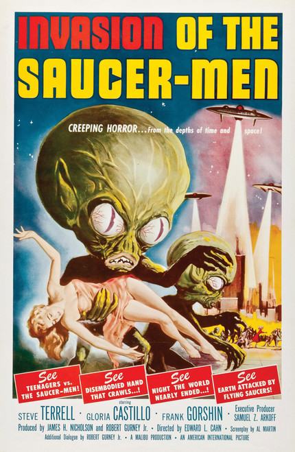 Vintage movie poster from Invasion of the Saucer Men.