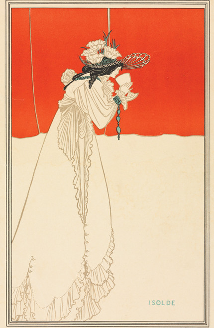 Isolde sipping from cup by Aubrey Vincent Beardsley.