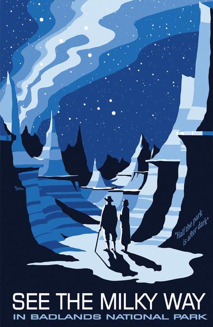 Vintage national park travel poster in Badlands with starscape.