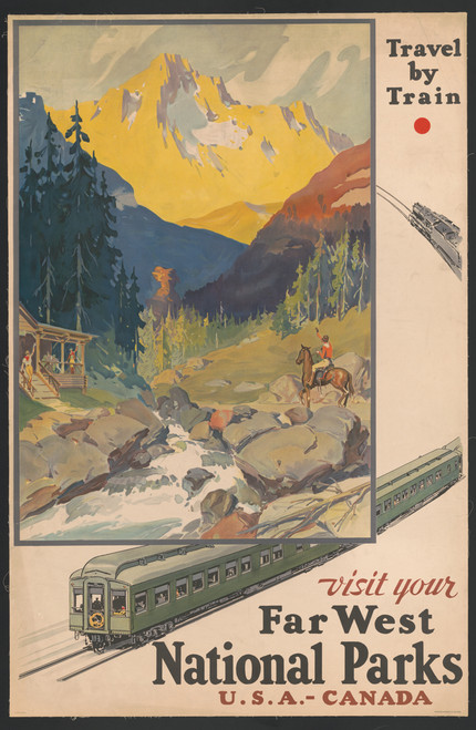 Vintage travel poster encouraging tourists to travel by train.