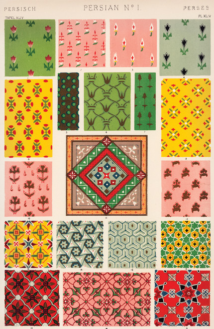 Persian style patterns illustrative plate print.