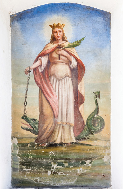 Painting of St. Margaret with an alligator.