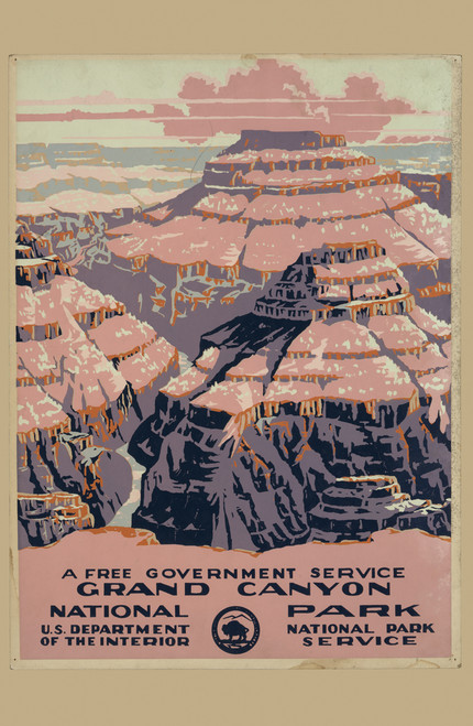Vintage travel poster for the Grand Canyon from the National Parks Service.