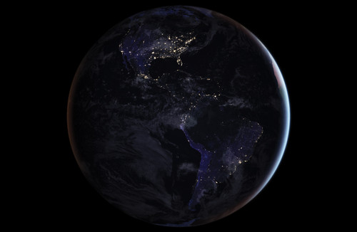 Photo from space of earth at night.