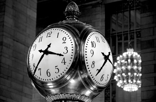 Clock in Grand Central Station in black and white.