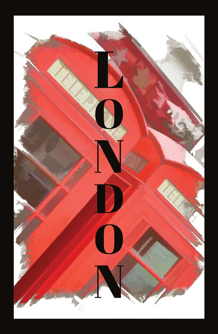 Travel poster for London with telephone box.
