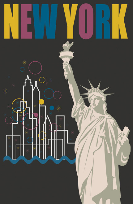 Retro travel poster for New York City from the 20th century.