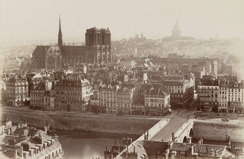 Vintage photograph of the Notre Dame in Paris from 1864.