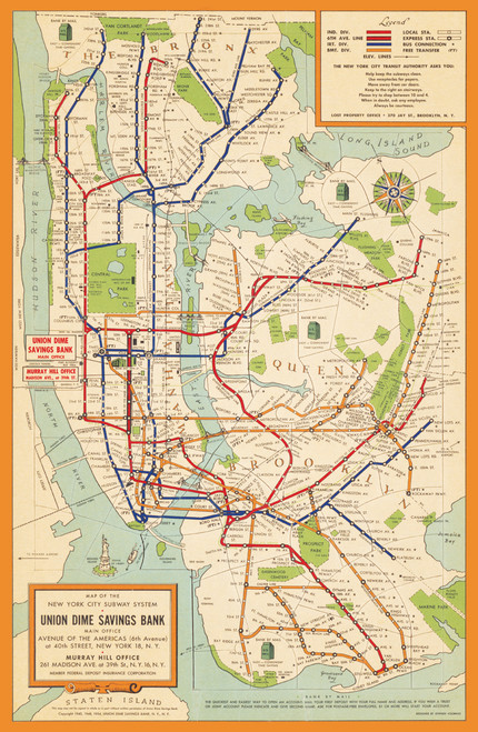 Vintage New York City Subway System Map from the 1950s.