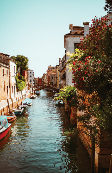Small canal in Venice, Italy with boats and plants.