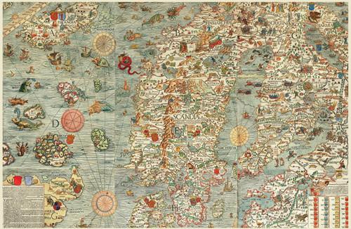 Carta Marina Map of the Sea by Olaus Magnus.