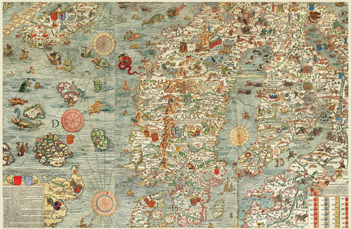 Carta Marina Map of the Sea by Olaus Magnus.
