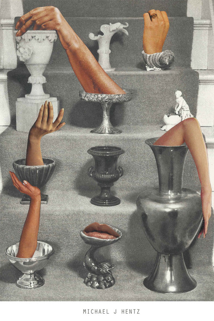 Exclusive collage art print of Arms and Pots.