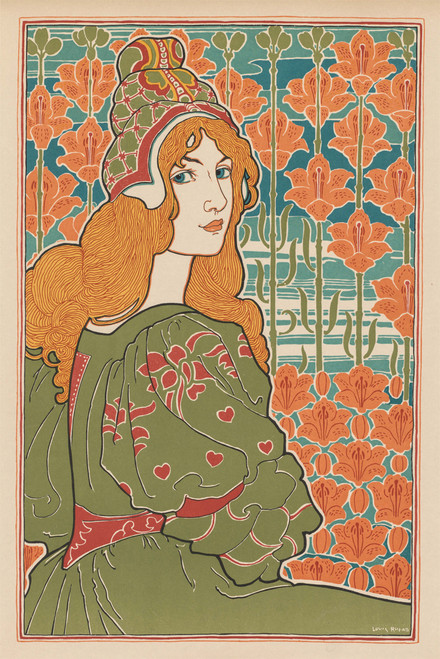 Woman with Flowers by Louis Rhead.