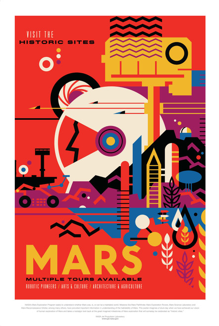Mars Multiple Tours Available retro poster.