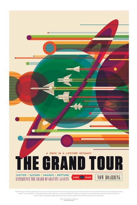 NASA Grand Tour retro space travel poster.