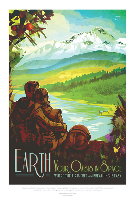 Earth: Your oasis in space retro travel poster.