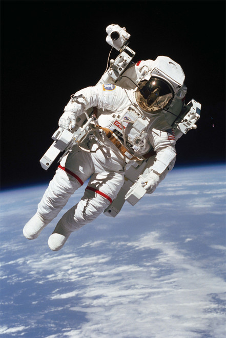 Bruce McCandless untethered space float.