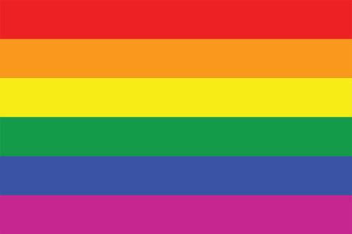 Rainbow pride flag postcard.