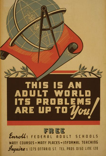 Adult Education Postcard.