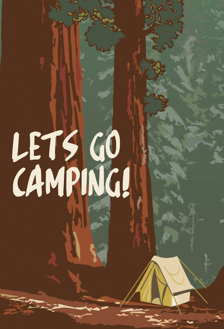 Let's Go Camping Postcard.