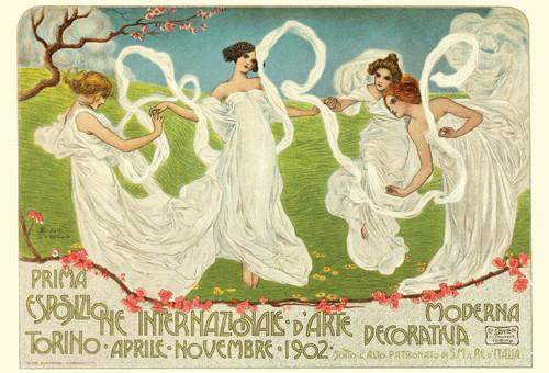 Mucha Three Women Dancing Postcard.