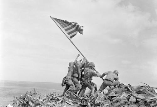 Raising the Flag at Iwo Jima Postcard.