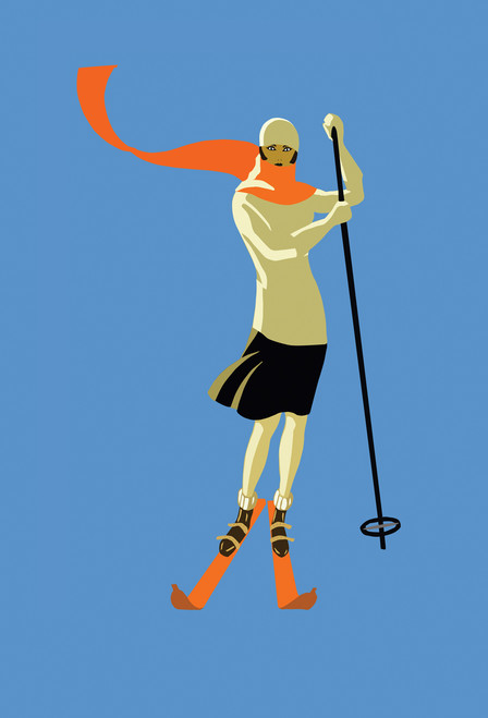 Skiing Woman Postcard.