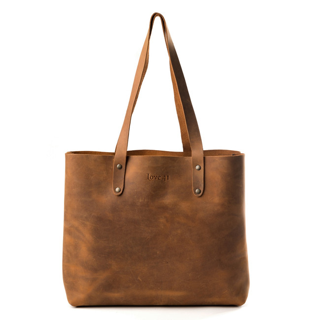 Brown Leather Tote by Love41