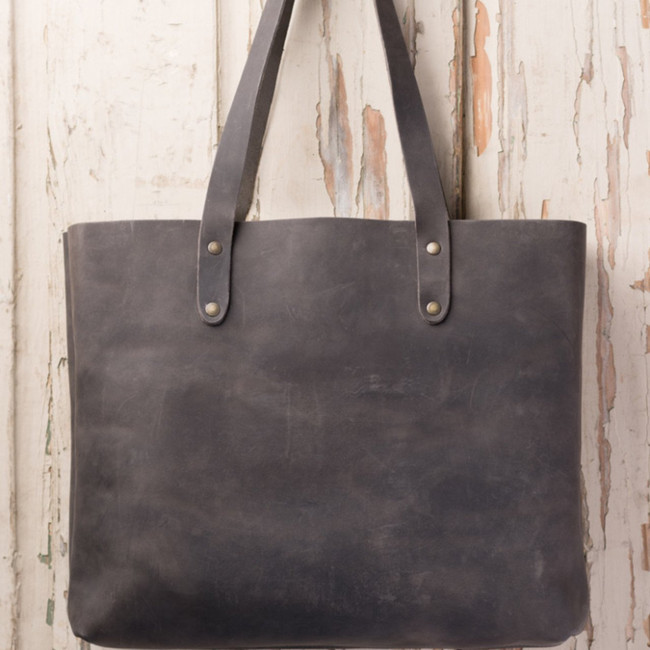 Black Leather Tote by Love41