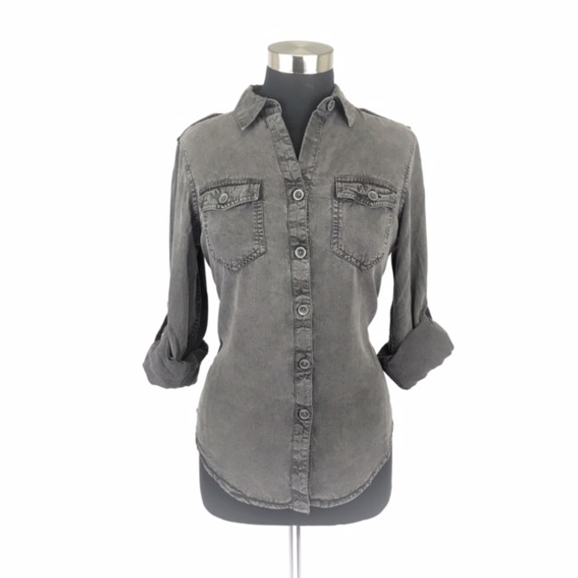 womens black denim shirt