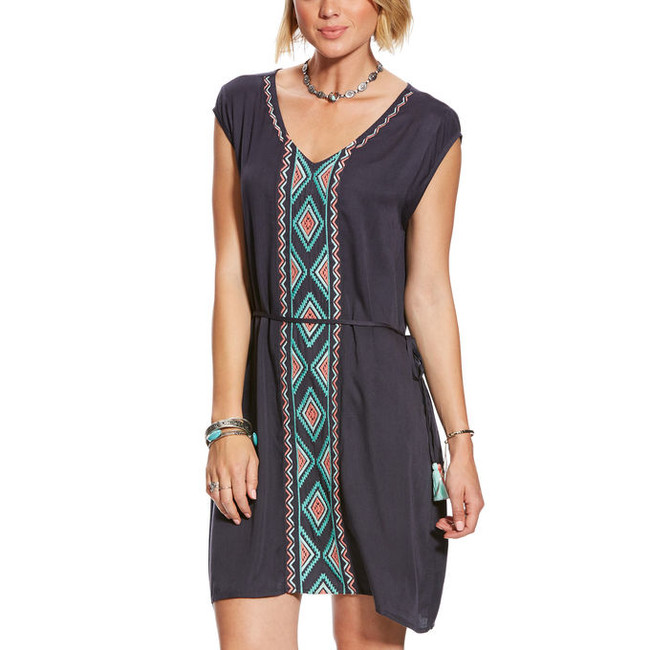 blue aztec dress