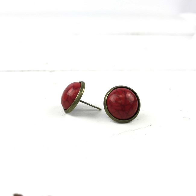 red marble earrings