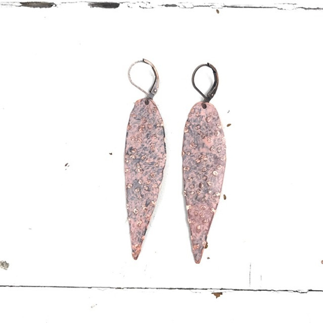 pink copper earrings