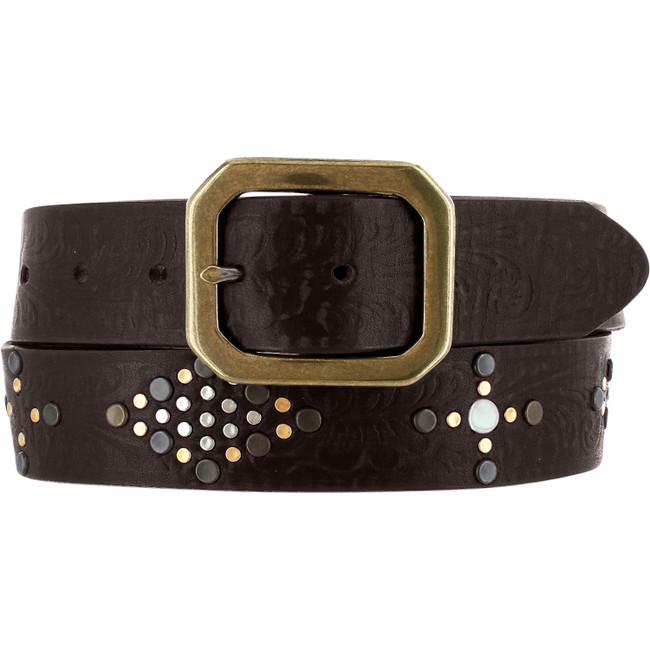 brown leather belt with studs