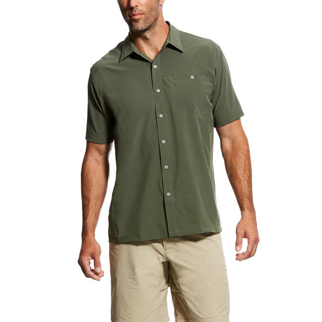 mens tech button down shirt